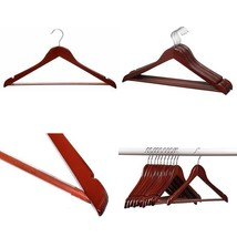 24 Pack Solid Wood Clothes Hangers Durable Thick Natural Finish Mahogany... - $42.54