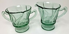 Jamestown Green Fostoria Elegant Glass Swirl 2719 Stem Creamer and Sugar... - $20.85