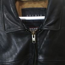 ANDREW MARC Black Leather Bomber Jacket Distressed Lined Zip Up Motorcycle XL image 4