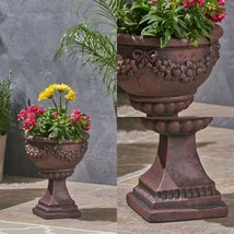 Garden Urn Planter Pot Roman Botanical Lightweight Concrete Outdoor Deco... - €52,18 EUR