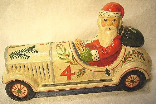 Vaillancourt Folk Art,Santa Driving a  Vintage Car  Sig