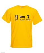 Mens T-Shirt Quote Eat Sleep Train, Bodybuilder Fitness TShirt, Sport Fans - $24.74