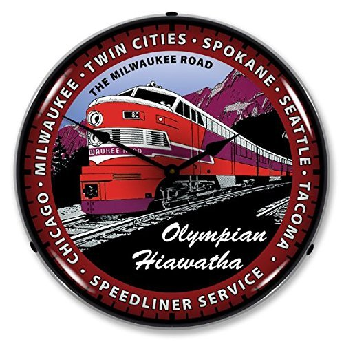 Olympian Train Lighted Wall Clock