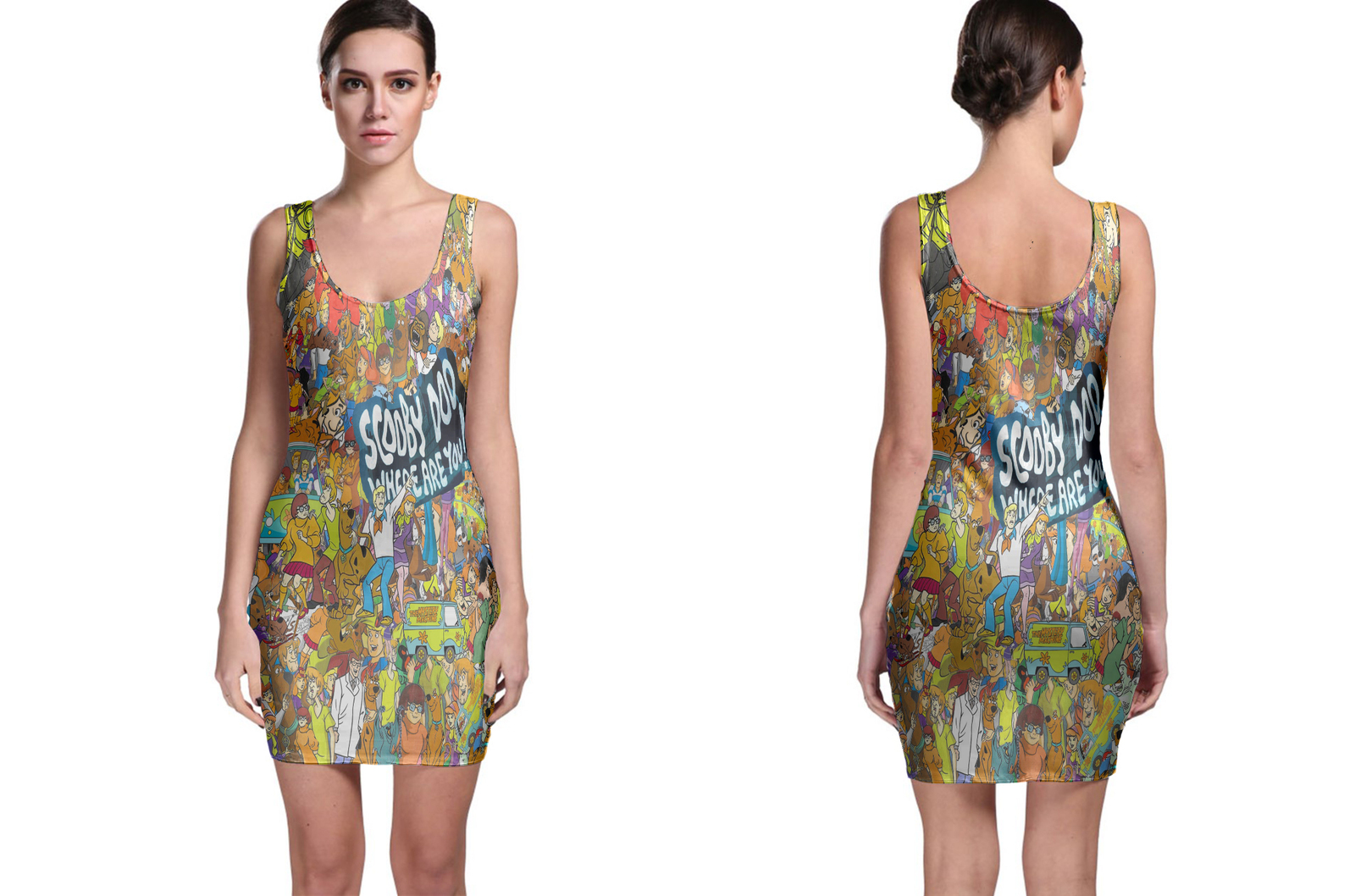 Bodycon Dress scooby doo collage