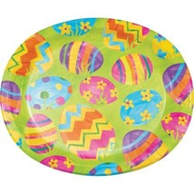Easter Egg Toss 8 Ct Oval Banquet Paper Platters Plates Bright Colorful - £5.77 GBP