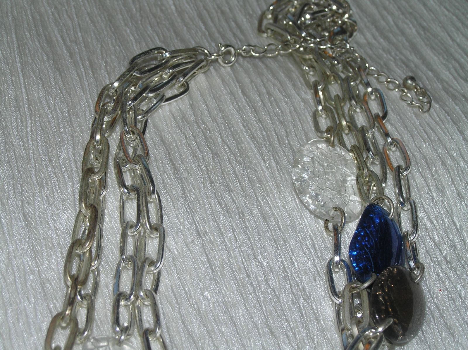 Estate Avon Multistrand Open Silvertone Chain with Crackled Blue Clear Plastic