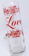 Libbey Tall Vase Red Script Love Clear Glass 10 Bridal Candle Holder Cen... - $26.07