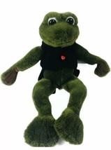 GANZ VTG 1997 Frog Plush Valentines RARE Froggie Black Red Ribbit Toad Gift - $24.55