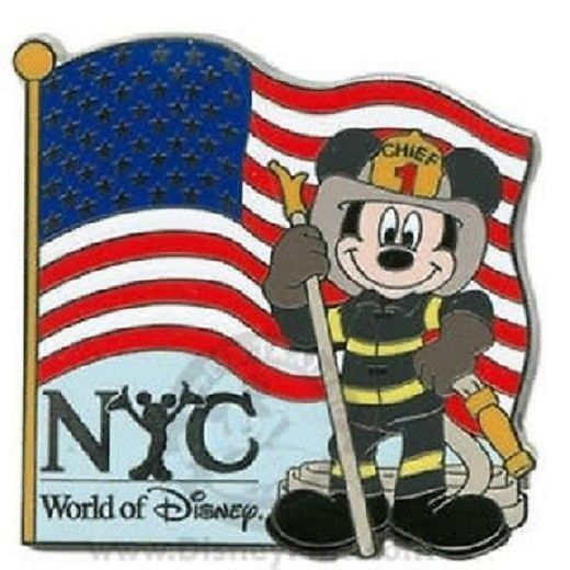 Primary image for Disney Chief Mickey World of Disney New York Fireman Mickey American Flag NY Pin