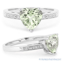 1.13ct Heart-Shape Green Amethyst Round Diamond Right-Hand Ring - 14k Wh... - £317.72 GBP