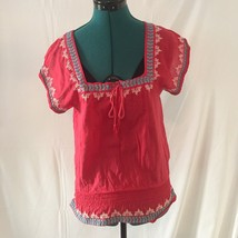 American Eagle Red Embroidered Boho Top Size Small Square Neckline - $14.25