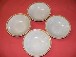 """4 Wildflower Stoneware Hand Painted 6.75"""" Soup Cereal Bowls - $10.00"""