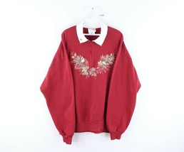 Vintage 90s Streetwear Womens XL Bird Leaves Nature Half Zip Collared Sw... - $44.50