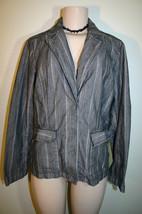 TOMMY BAHAMA Sz M 8 10 Black Beige Herringbone Striped Cotton Snap Front... - $11.35