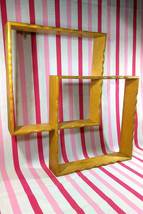 Lovely Mid Century Maple Wood Shadow Box Interlocking Shelves Scallop Ed... - $30.00
