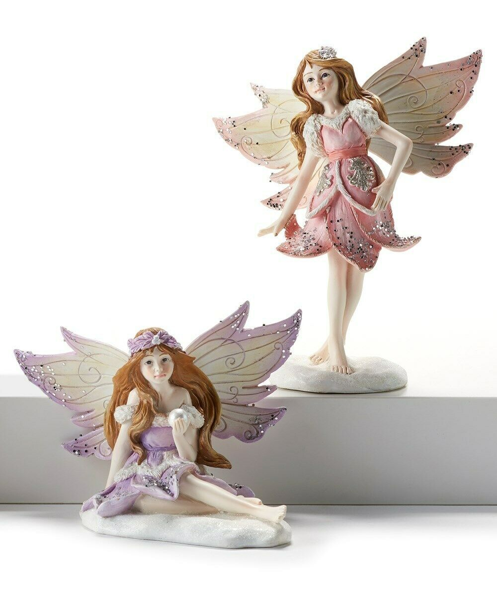 Set of 2 Glitter Fairies with Wings Pink and Purple
