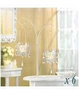 Lot of 6 MINI CHANDELIER VOTIVE STAND Jeweled Hanging Candle Holders Cen... - $97.75