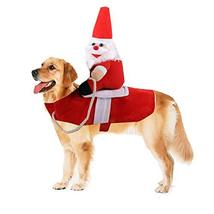 NACOCO Dog Santa Claus Christmas Costume Pet Halloween Santa Claus Rider... - $16.82