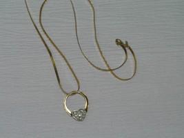 Vintage Long Herringbone Monet Marked Chain w Open Ring & Rhinestone Heart Slide - $13.99