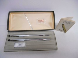 Old Vtg Cross Ball Pen Mechanical Pencil Set Chrome #3501 Writing Instrument - $39.59