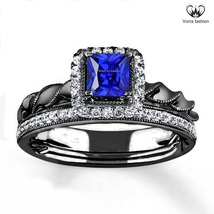 Twisted Bridal Wedding Ring Set In Blue Sapphire Black Gold Finish 925 Silver - $96.99