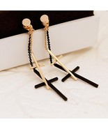 Punk Rock Double Cross Drop Earrings For Men Women Minimalist Jewelry Da... - $12.90