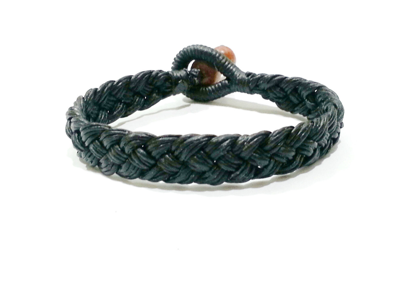 Fair Trade Wide Black Wax Cord Classic Thai Wristband Handcrafted Bracelet