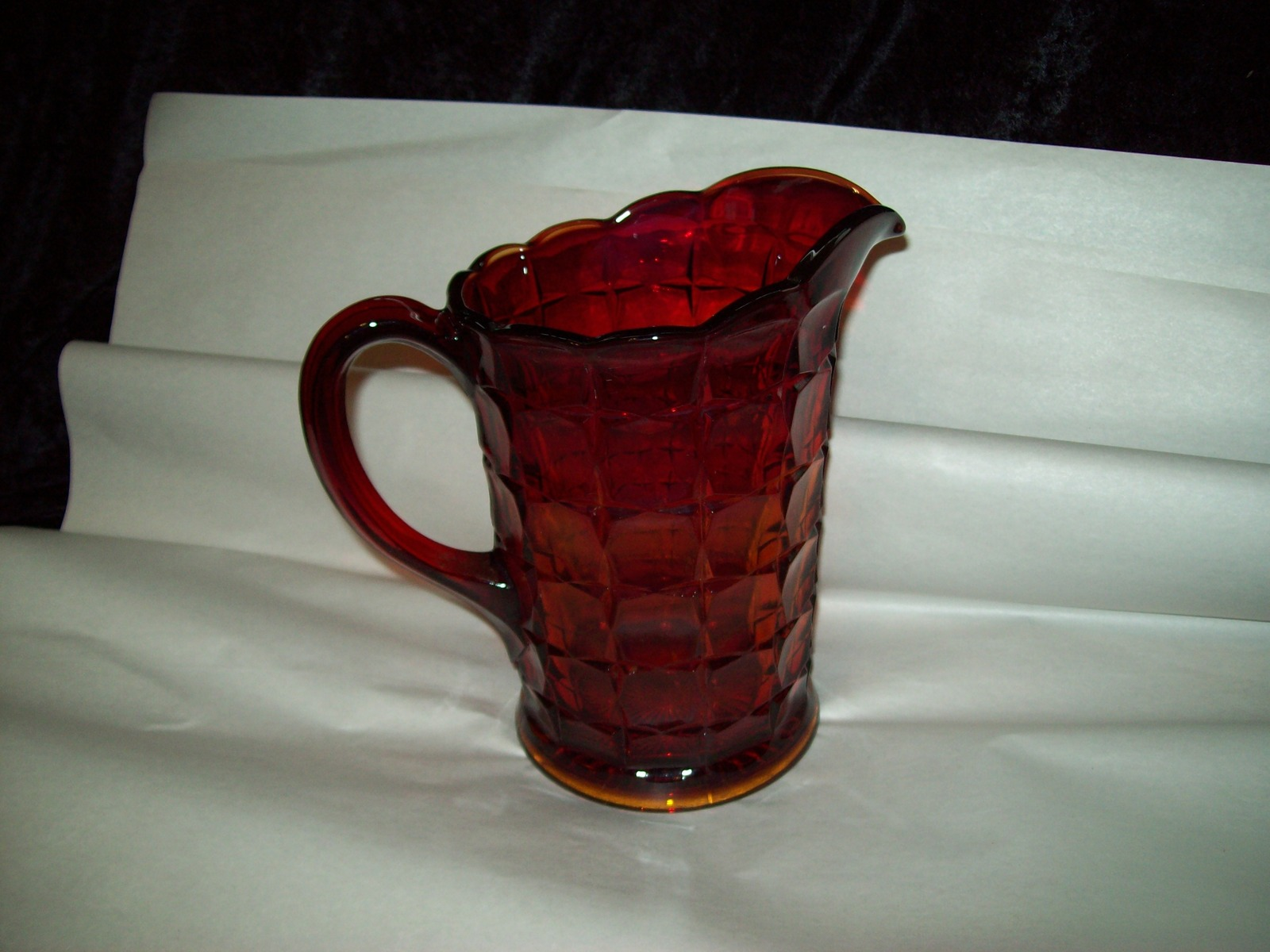 Indiana Glass Tiara Ruby Sunset Amberina Red Constellation Water Pitcher Vintage image 3