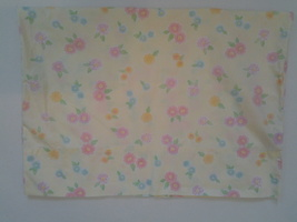 Pottery Barn Kids Standard Pillowcase Floral Yellow with pastel flowers, VG - $7.99