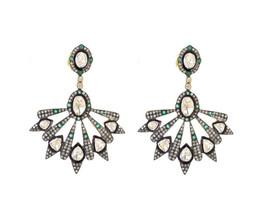Beloved Victorian Inspr. 2.10Ctw. Rose Cut Diamond Polki Silver Earrings - $659.14