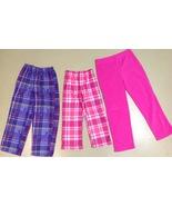 3 Girls Cuddly Pajama Pants Size 6 7/8 10 Plaid Monster High - $5.89