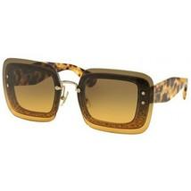 NEW MIU MIU  Square Grey Glitter Sunglasses Transparent Tortoise/Grey 01RS - $185.77
