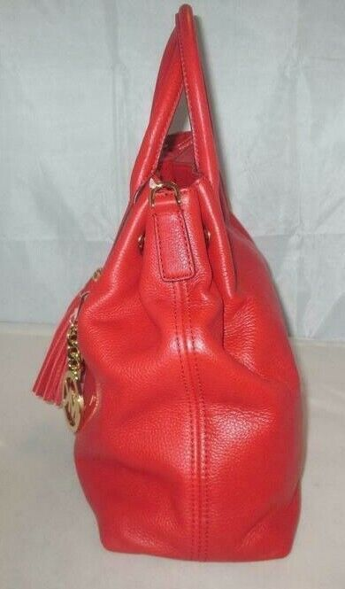 MICHAEL KORS CAMDEN LEATHER DRAWSTRING RED GOLD CROSSBODY LARGE SATCHEL BAG NWT image 7