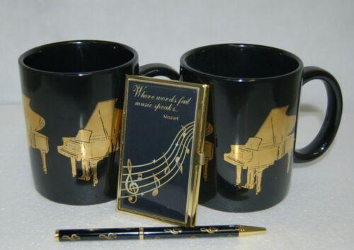 Musical Gift Set 2 Coffee Mugs Ball Point Pen Business Card Holder Black Gold