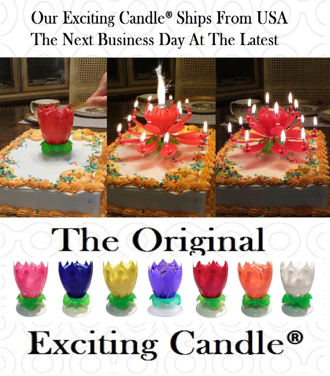 1 Rainbow + 1 Red  Amazing Lotus Flower Music Happy Birthday EXCITING CANDLE