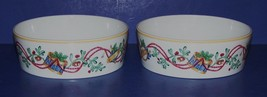 """BEAUTIFUL 1992 BLOCK SPAL PAIR OF WHIMSY CHRISTMAS 5 3/4"""" COUPE CEREAL B... - $27.71"""