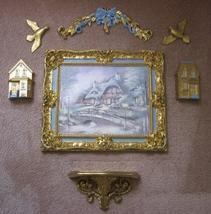 HOMCO Burwood 7pc Set Framed Cottage Scene 2 Birds 2 Houses Wall Shelf &... - $60.00