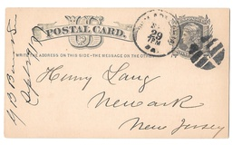 Scott UX5 Philadelphia Fancy Cork Cancel 1877 Postal Card to Newark NJ - $6.99