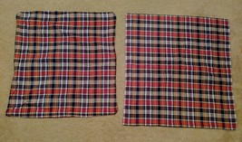 Ralph Lauren Two Euro Size Pillow Case Sham Garrison Plaid Red Blue Sham... - $49.49