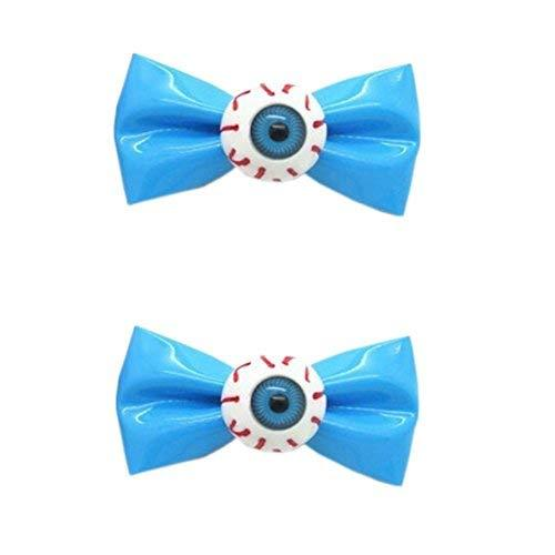 [1 Pair] Zipper Style Blue Bowknot Hair Clips Eye Ball Bowknot Hair Barrettes