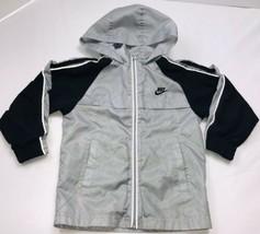 Nike Lightweight Full Zip Hoodie Boys Small Sz 6 Polyester Gray Black - $29.69