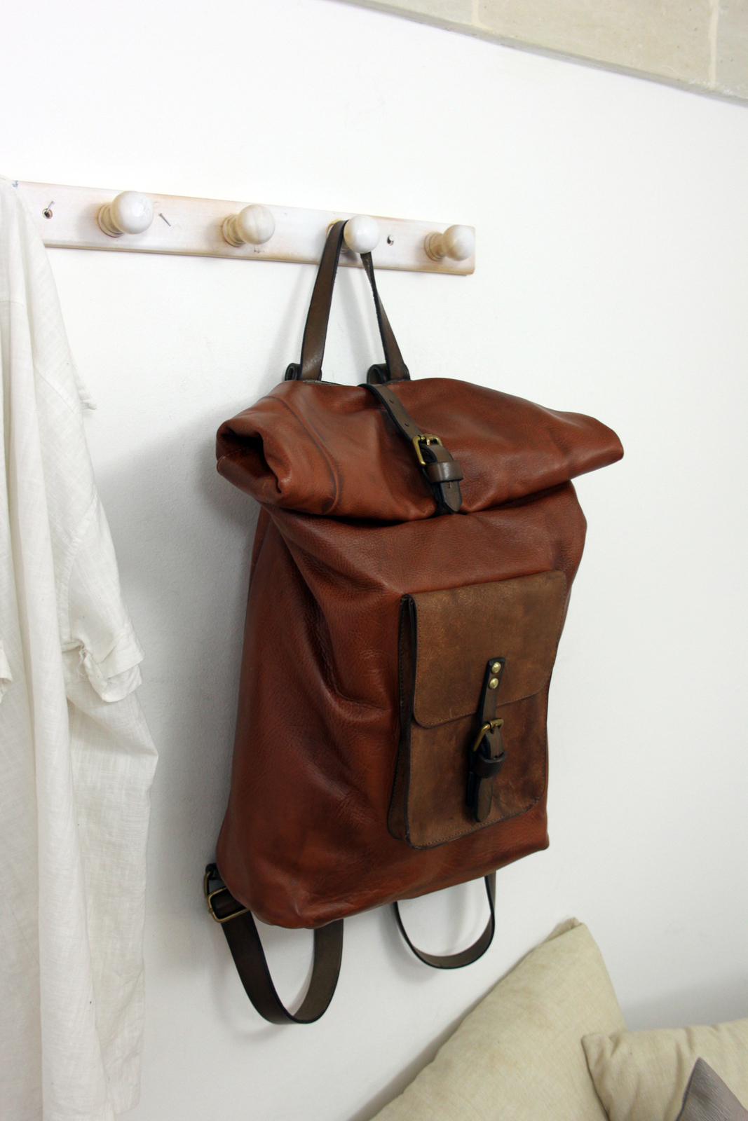 ROLL BACKPACK handmade leather & canvas backpack image 1
