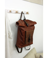 ROLL BACKPACK handmade leather & canvas backpack - $379.00
