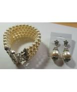 Vintage Alexi Blackwell 5 Strand Swarovski Pearl Bridal Bracelet & Earrings - $74.25