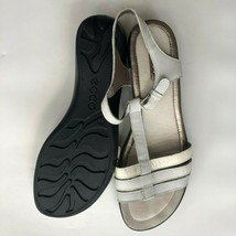 Ecco Womens 40 Pewter Silver White Sensata Sandals Comfort Straps Walkin... - $35.00