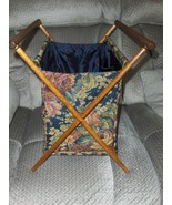 Vintage Folding Wood Frame Basket Caddy Tote Sewing Knitting Yarn Stand ... - $42.99