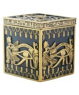 Black and Yellow Egyptian Hieroglyphics Embellished Trinket Box - $19.79