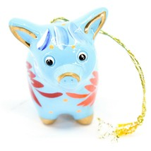 Handcrafted Painted Ceramic Blue Pig Confetti Ornament Made in Peru image 2