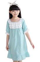 Lovely Dots Girls Nightgown Summer Short Sleeve Nightdress Babydoll,Blue,5-7Y