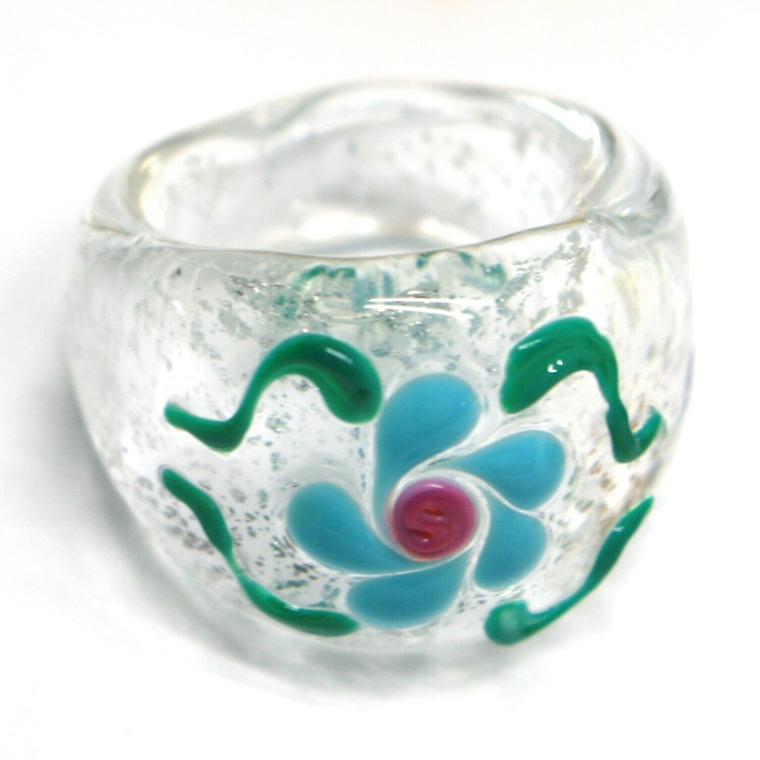 Ring Antica Murrina, Murano Glass, Clear, Flower Light Blue, Wave, Band
